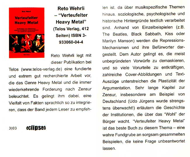 "Wehrli-Rezension in ""Eclipsed"""